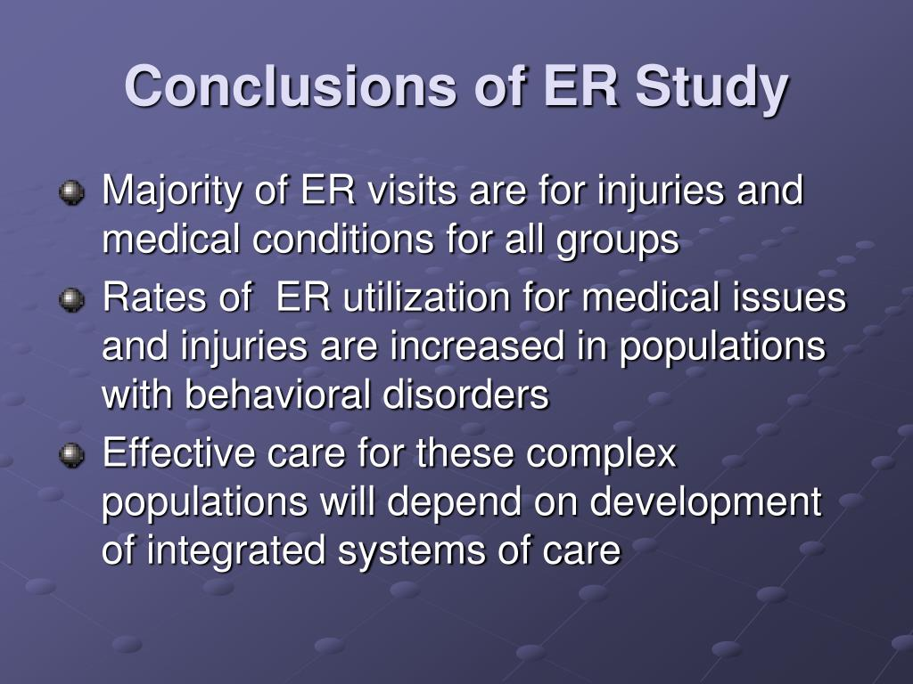 Conclusions of ER Study
