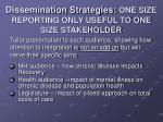 dissemination strategies one size reporting only useful to one size stakeholder