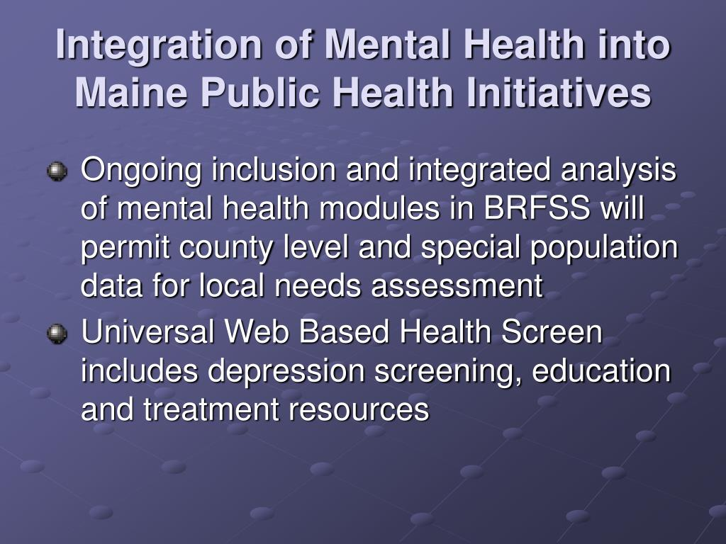 Integration of Mental Health into Maine Public Health Initiatives