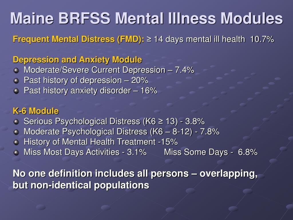 Maine BRFSS Mental Illness Modules