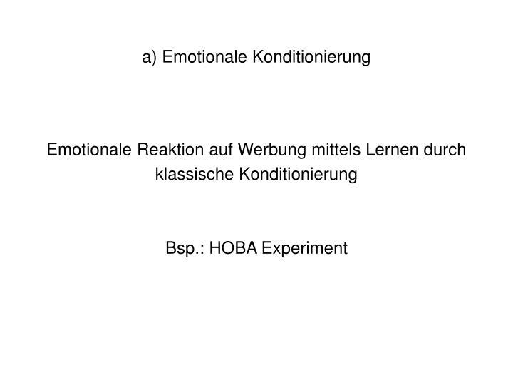 a) Emotionale Konditionierung