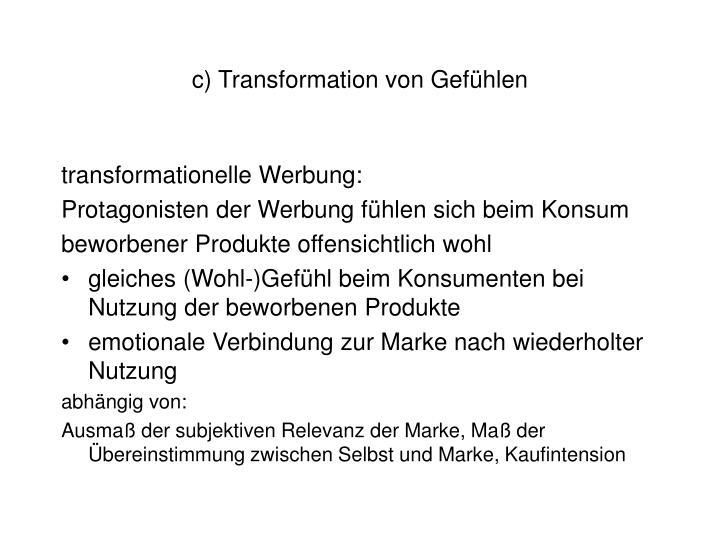 c) Transformation von Gefühlen
