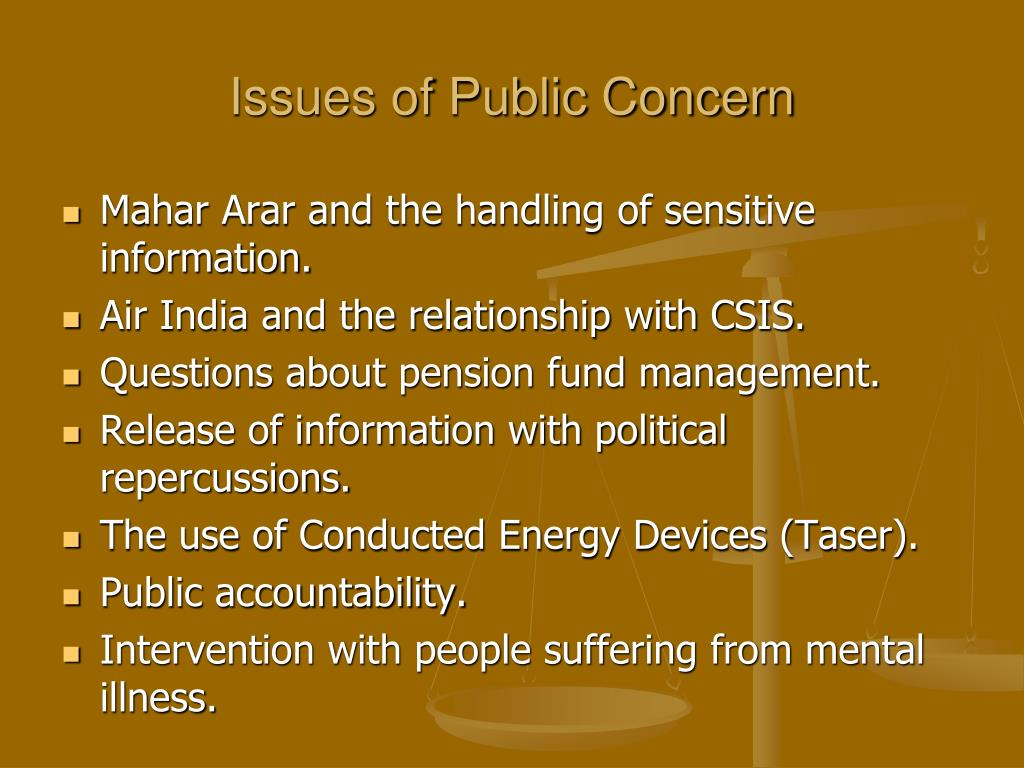 Issues of Public Concern