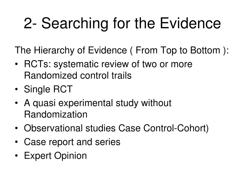 2- Searching for the Evidence