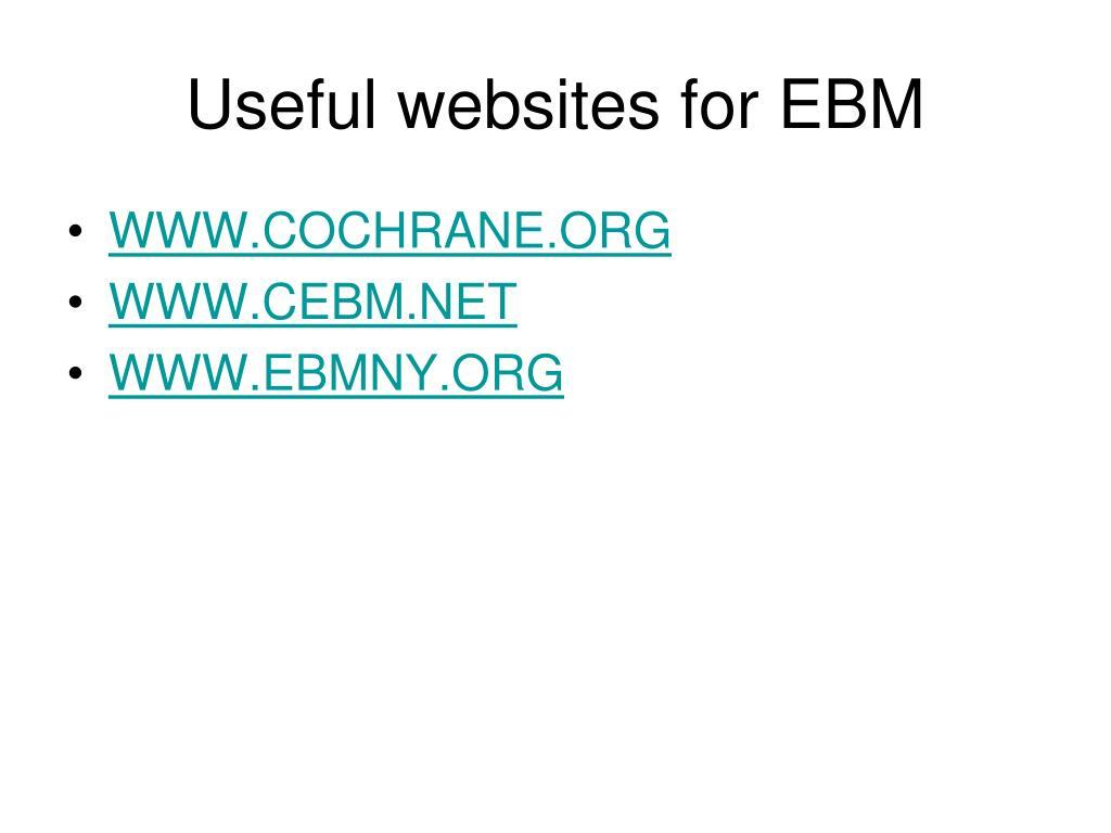 Useful websites for EBM
