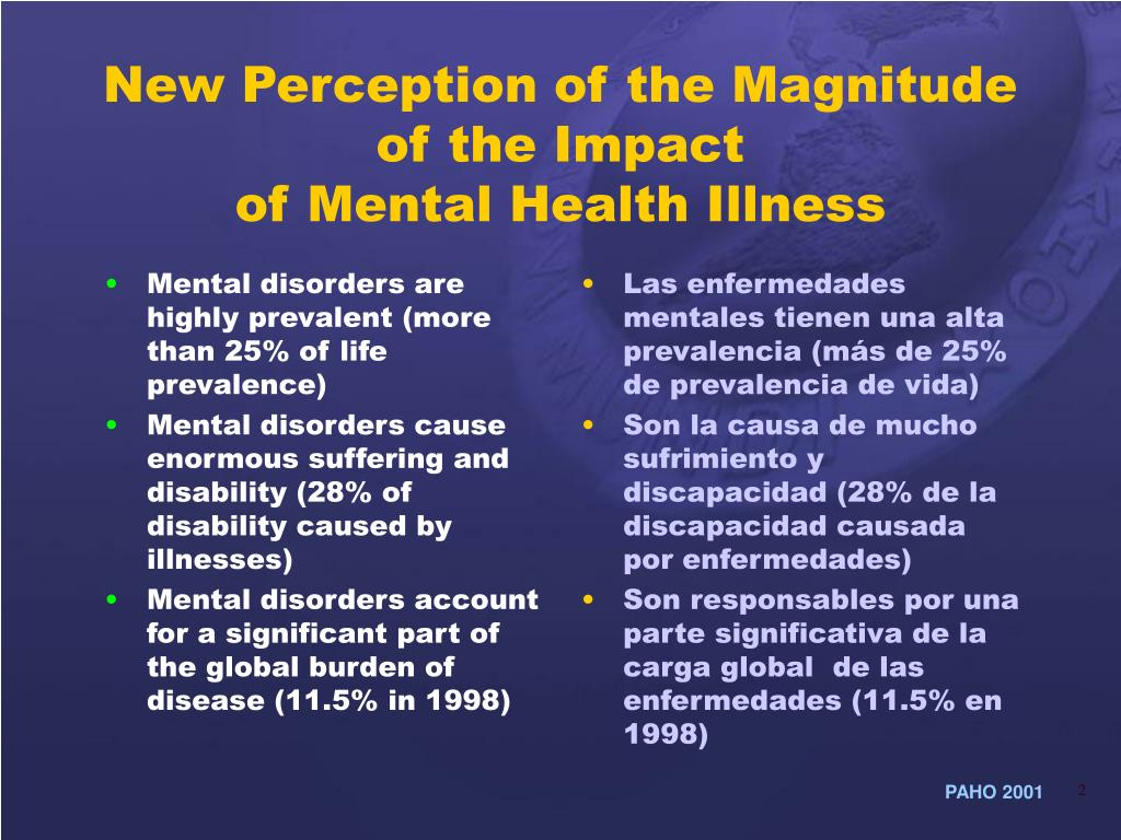 Mental disorders are highly prevalent (more than 25% of life prevalence)