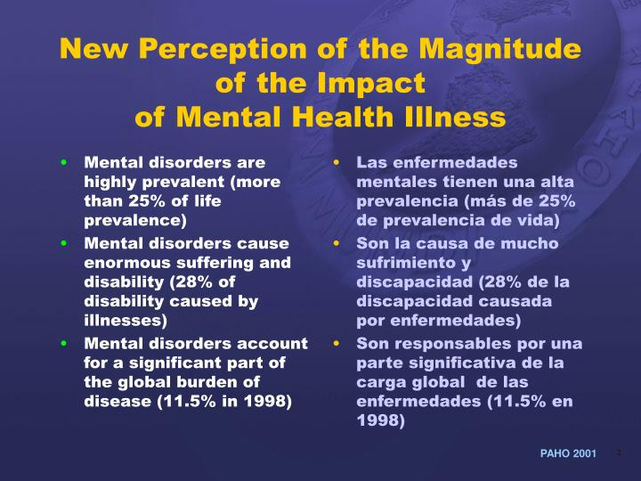 New perception of the magnitude of the impact of mental health illness