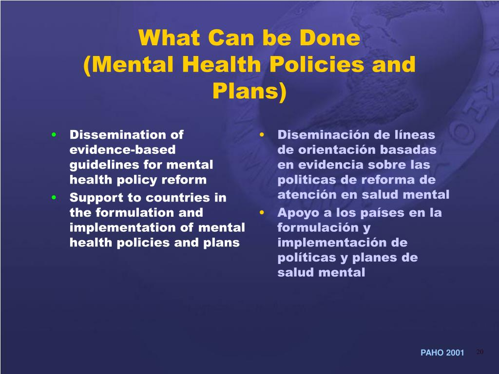 Dissemination of evidence-based guidelines for mental health policy reform