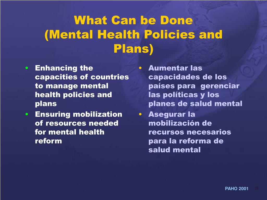 Enhancing the capacities of countries to manage mental health policies and plans