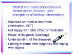 medical and social perspectives in mental health service users perceptions of medical intervention