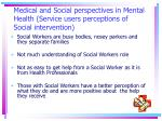 medical and social perspectives in mental health service users perceptions of social intervention