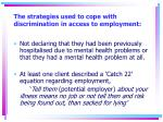 the strategies used to cope with discrimination in access to employment