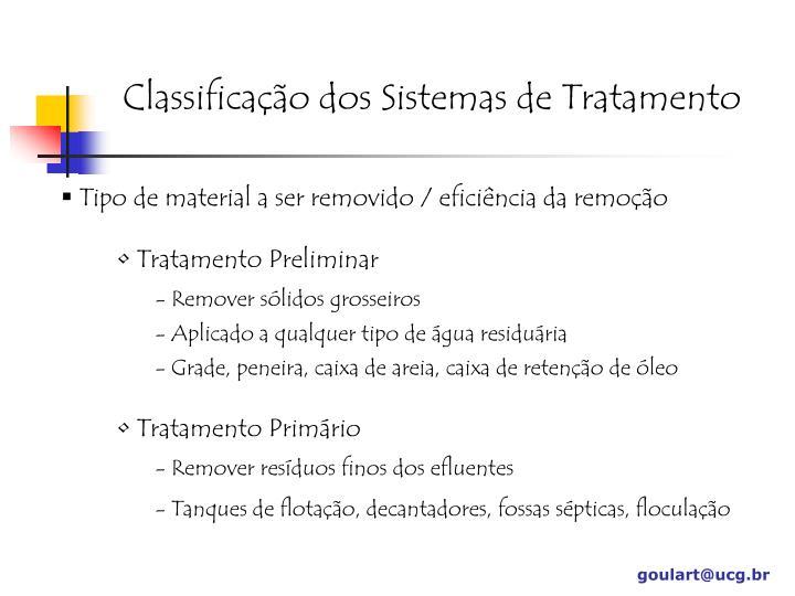 Classificação dos Sistemas de Tratamento