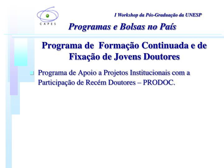 Programa de  Formação Continuada e de Fixação de Jovens Doutores