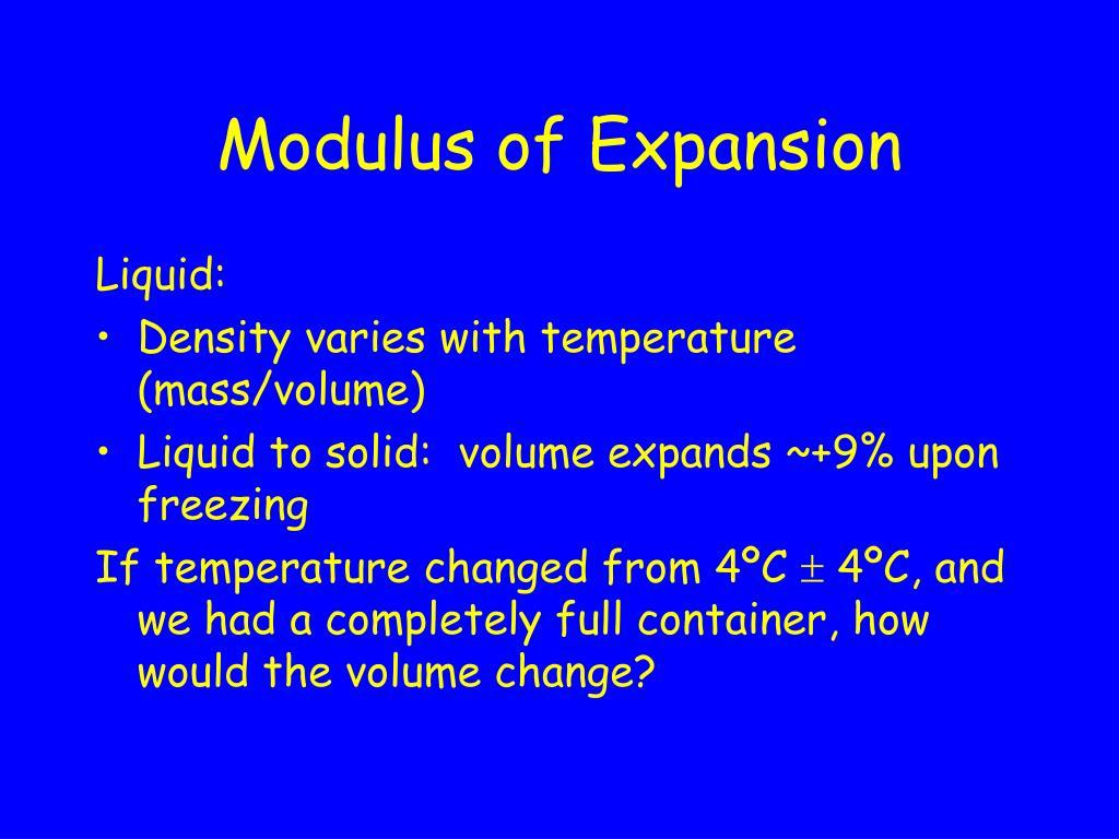 Modulus of Expansion