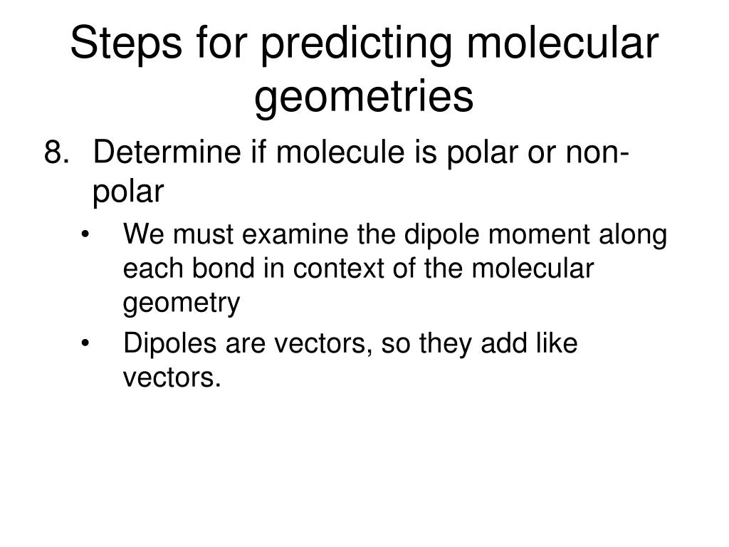 Steps for predicting molecular geometries