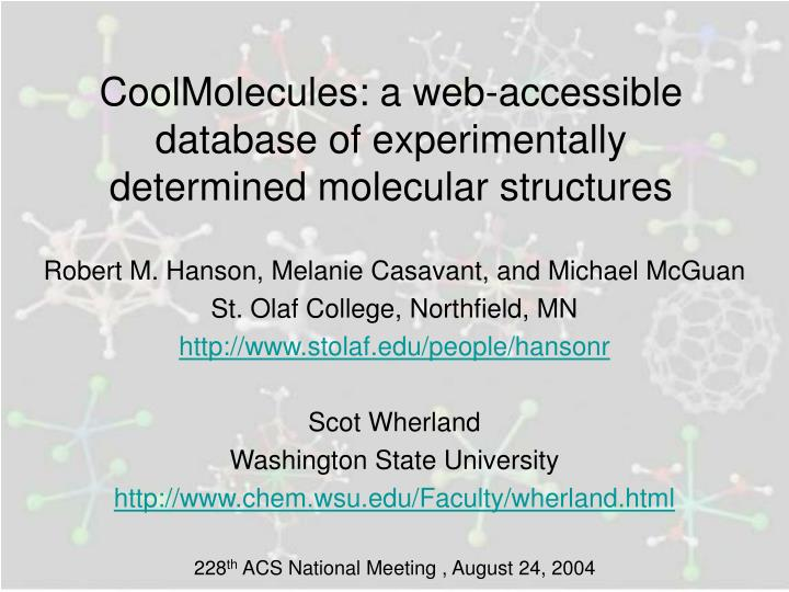 Coolmolecules a web accessible database of experimentally determined molecular structures