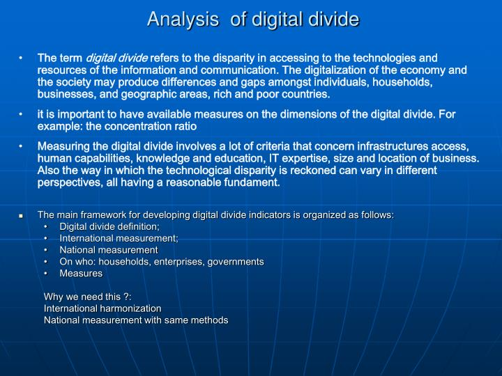 Analysis  of digital divide