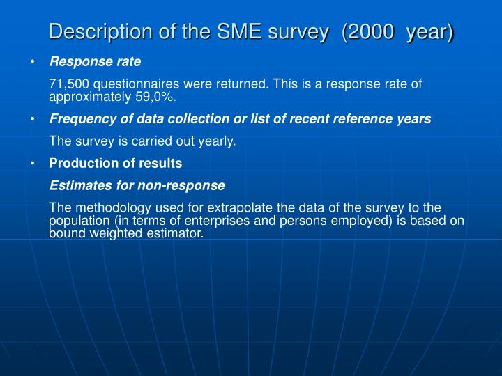Description of the SME survey  (2000  year)