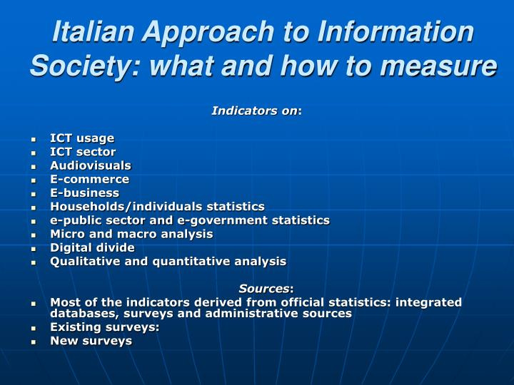 Italian Approach to Information Society: what and how to measure