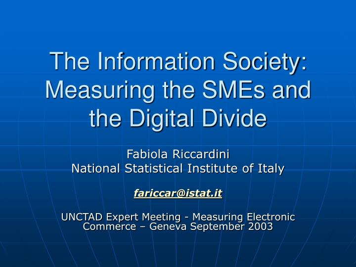 The information society measuring the smes and the digital divide