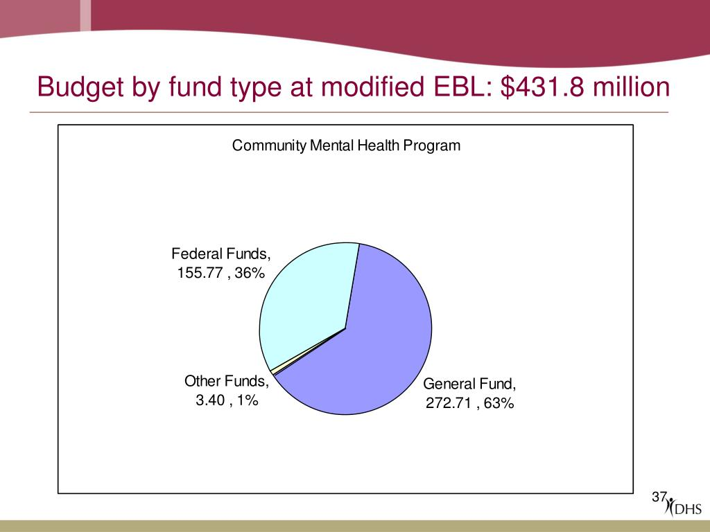Budget by fund type at modified EBL: $431.8 million