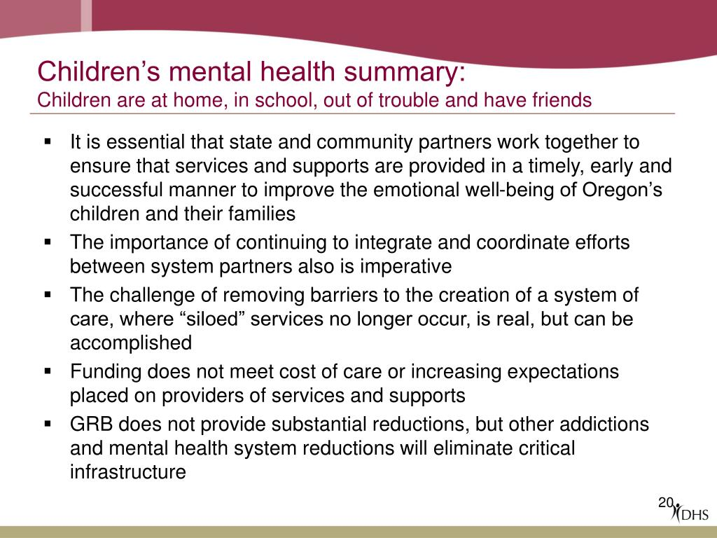 Children's mental health summary: