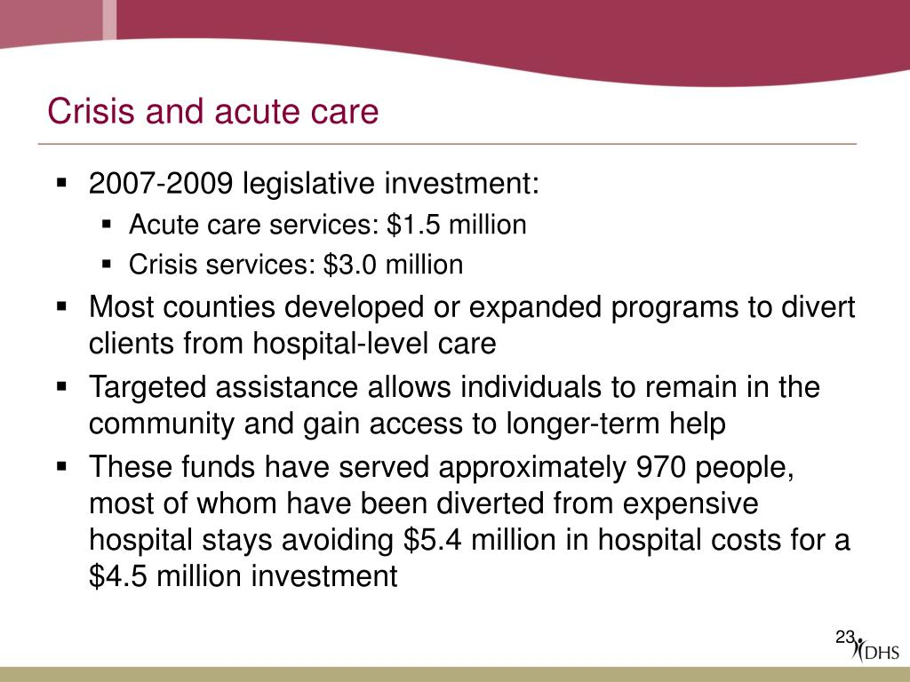 Crisis and acute care