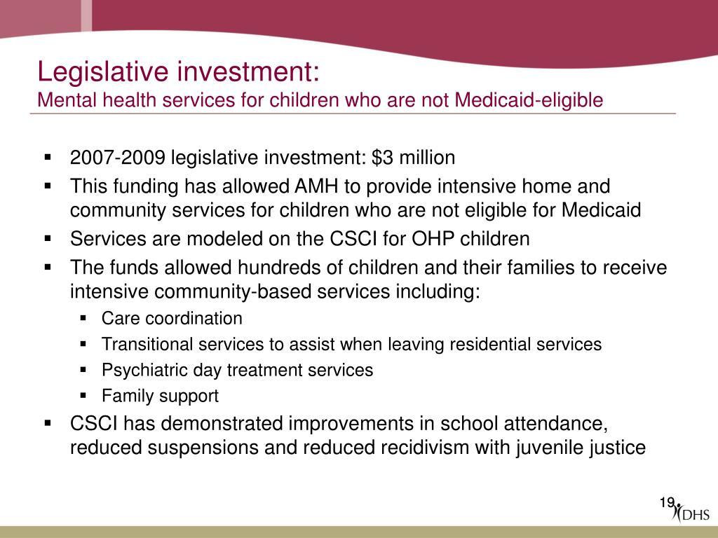 Legislative investment: