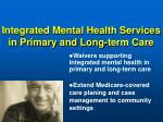 integrated mental health services in primary and long term care