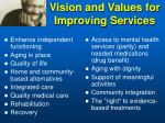 vision and values for improving services