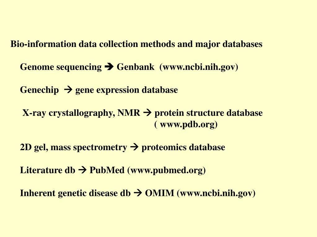 Bio-information data collection methods and major databases