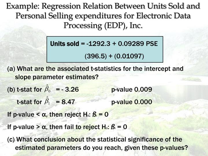Example: Regression Relation Between Units Sold and Personal Selling expenditures for Electronic Data Processing (EDP), Inc.