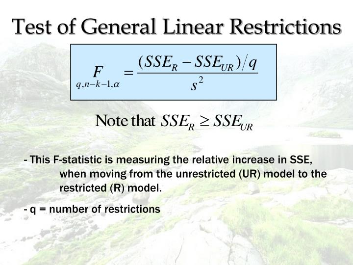 Test of General Linear Restrictions