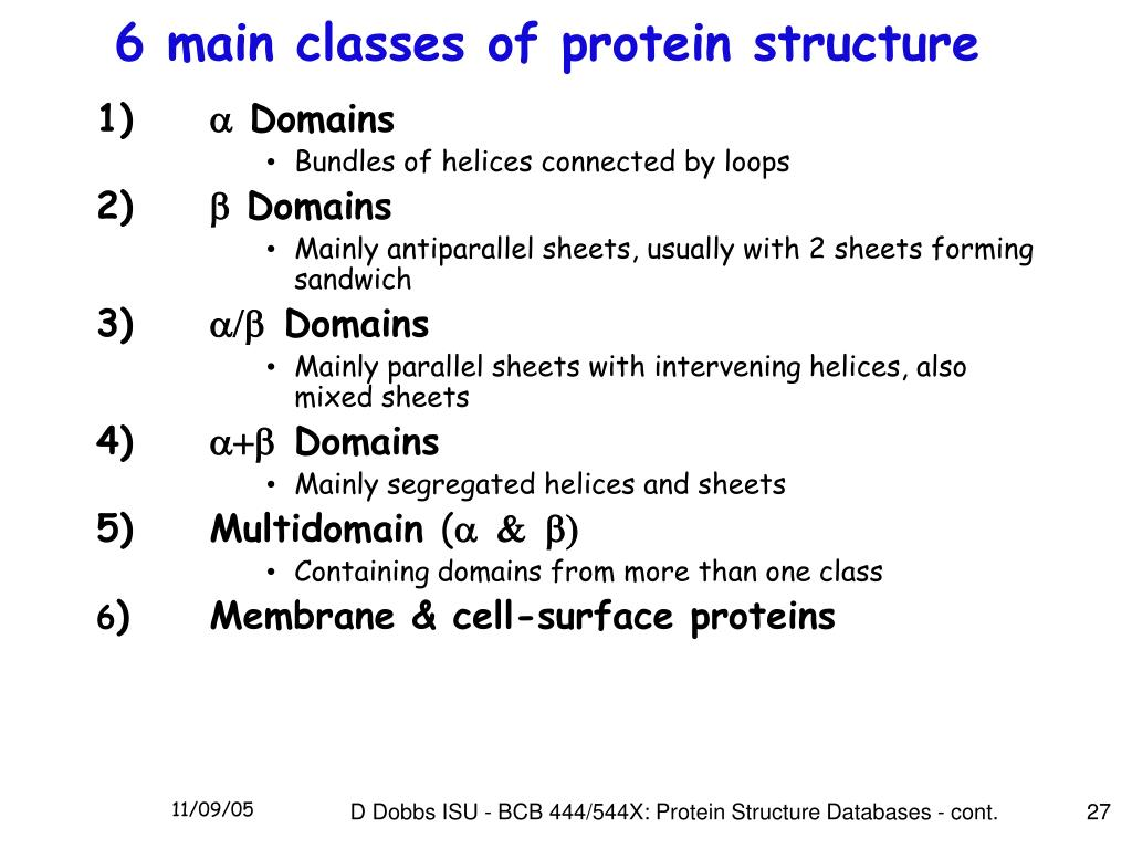6 main classes of protein structure