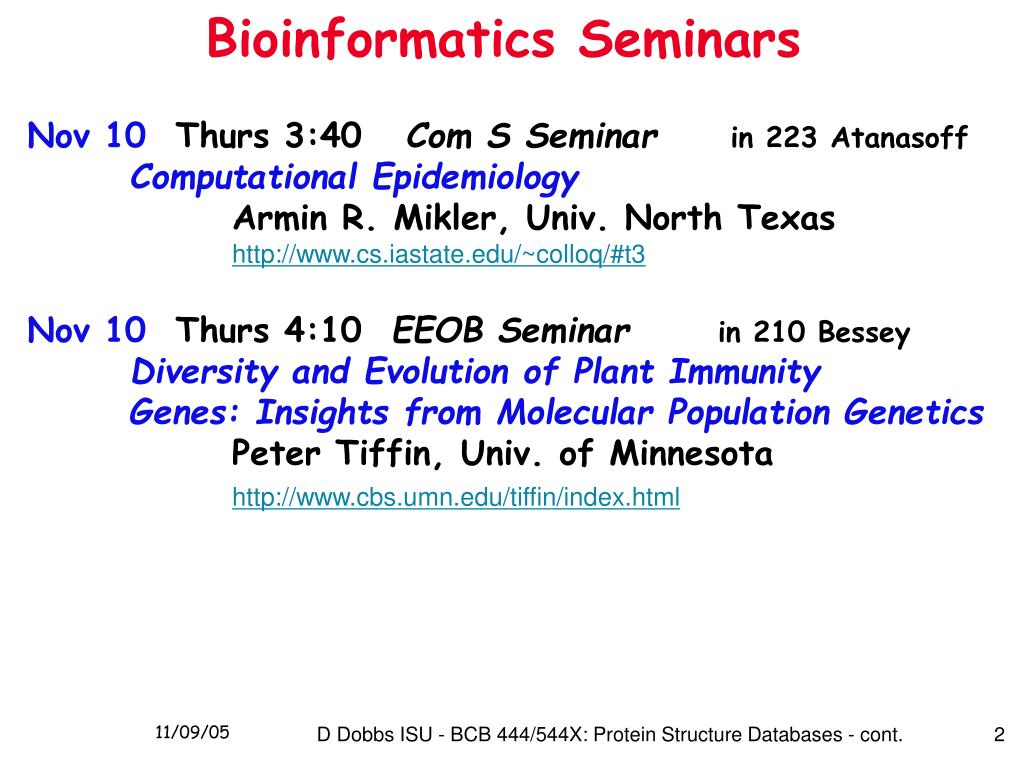 Bioinformatics Seminars