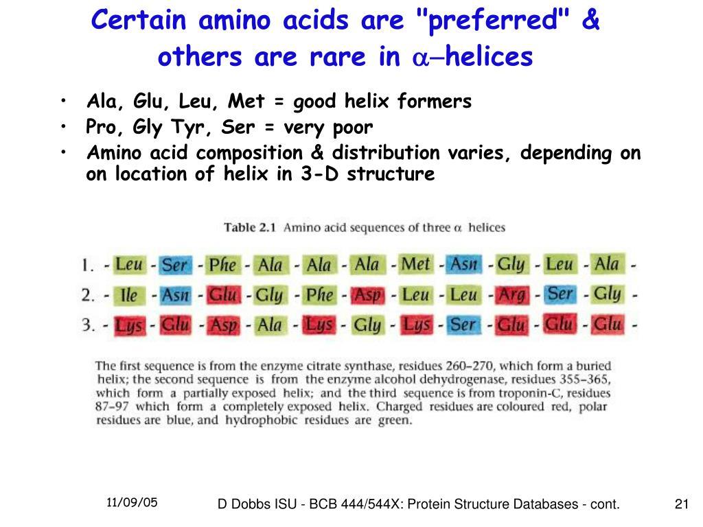 """Certain amino acids are """"preferred"""" & others are rare in"""