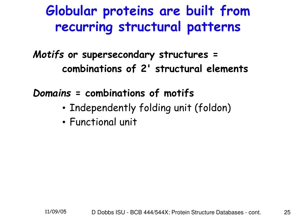 Globular proteins are built from recurring structural patterns