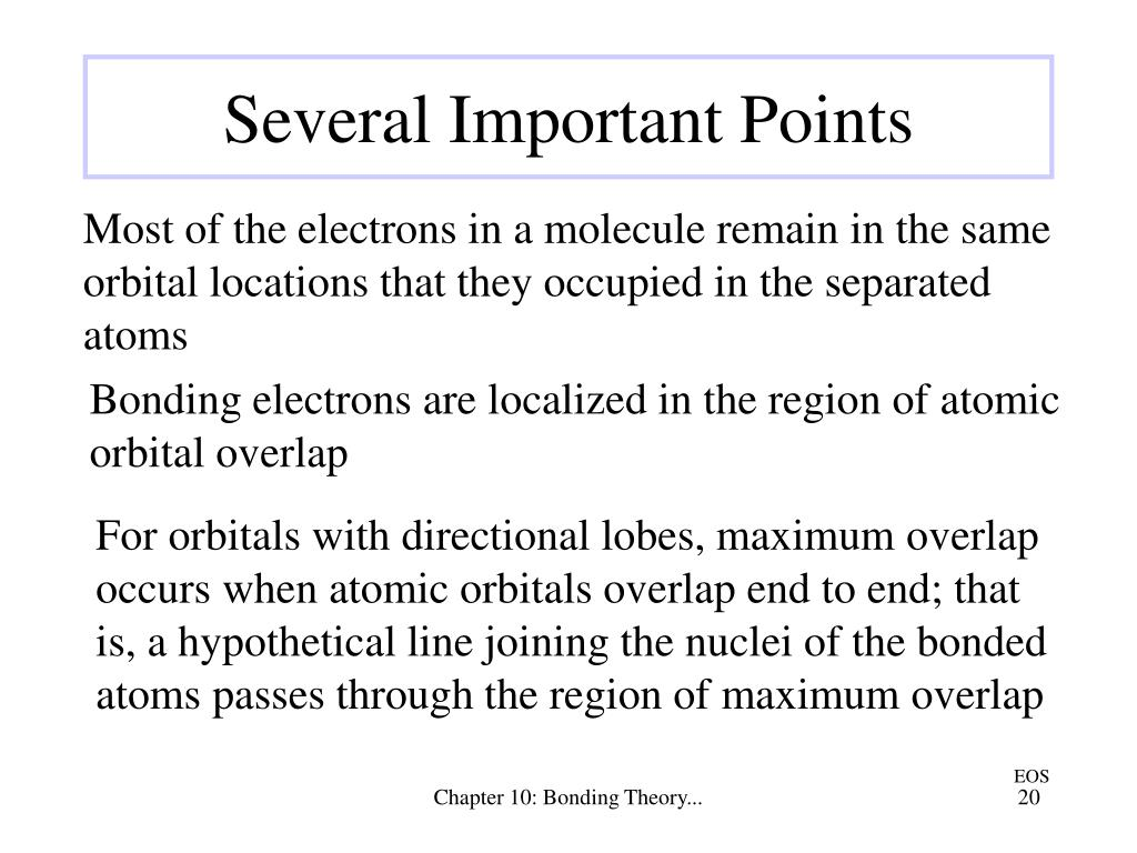 For orbitals with directional lobes, maximum overlap occurs when atomic orbitals overlap end to end; that is, a hypothetical line joining the nuclei of the bonded atoms passes through the region of maximum overlap