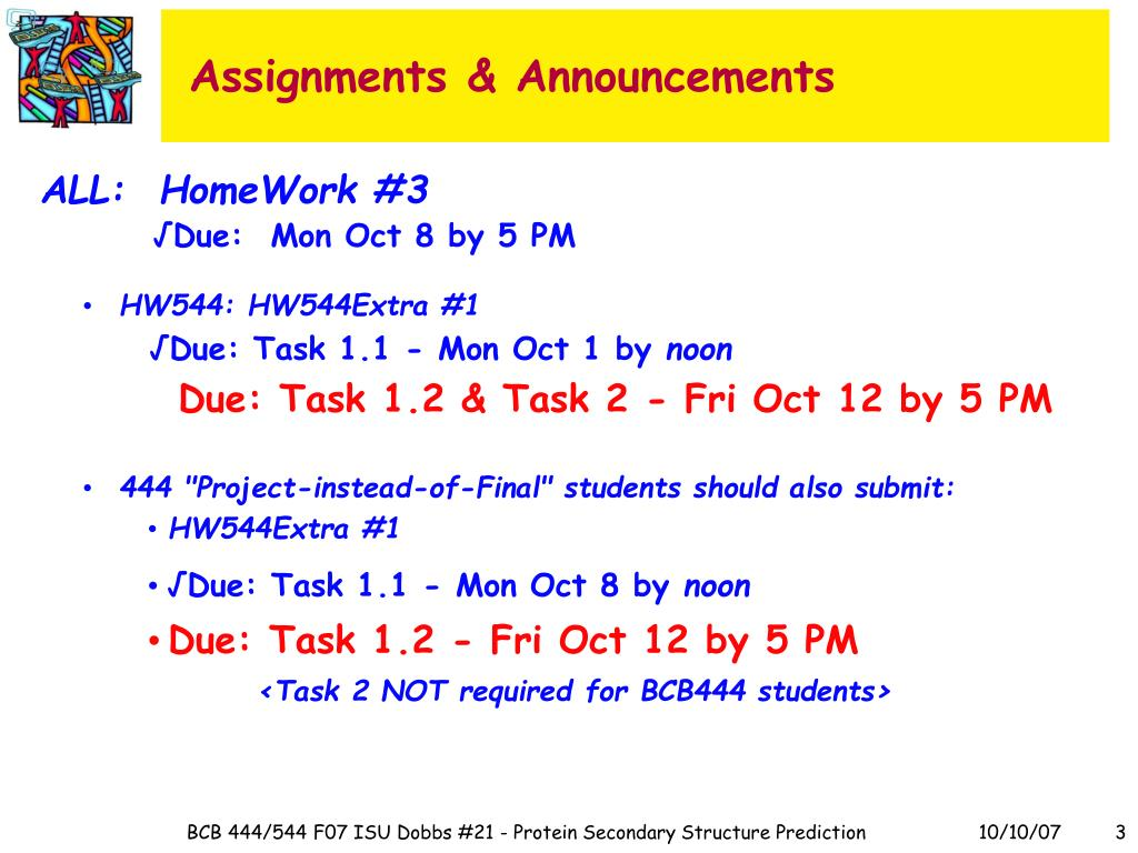 Assignments & Announcements