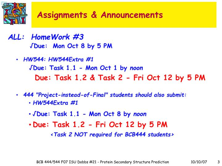 Assignments announcements