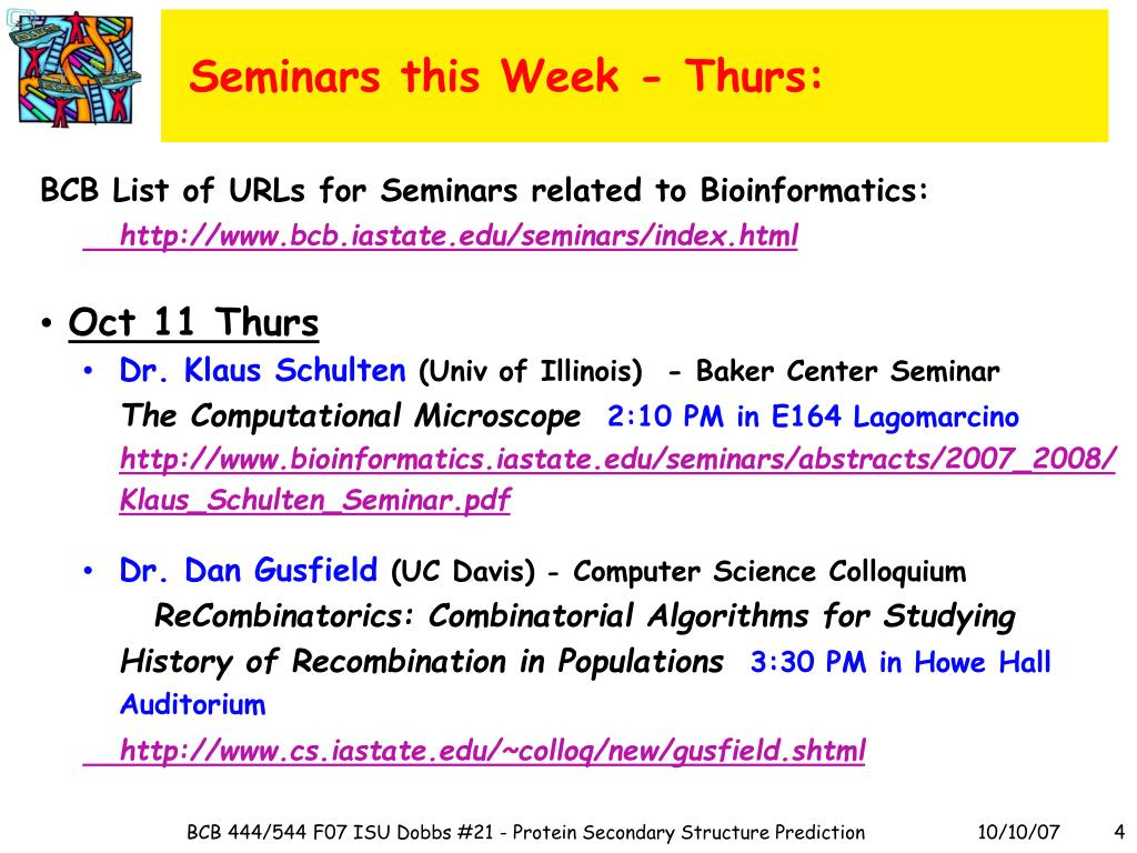 Seminars this Week - Thurs: