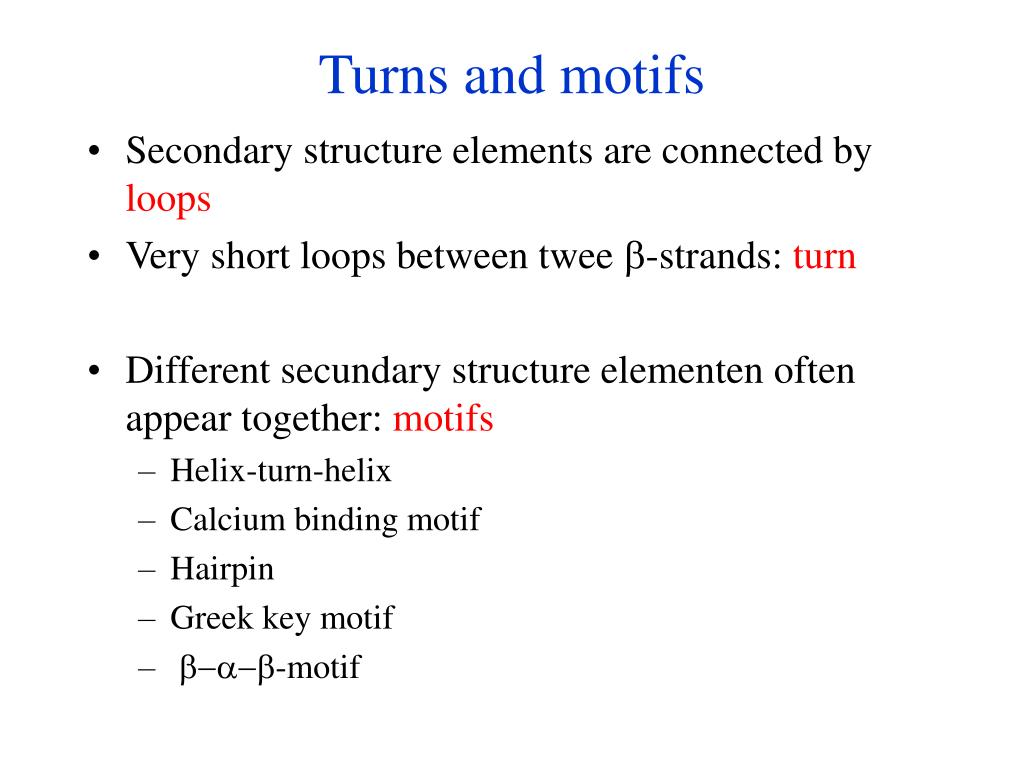 Turns and motifs