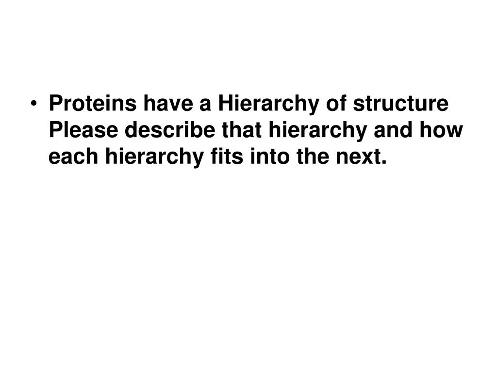 Proteins have a Hierarchy of structure Please describe that hierarchy and how each hierarchy fits into the next.