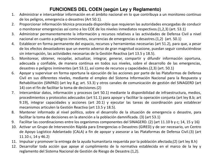 FUNCIONES DEL COEN (según Ley y Reglamento)