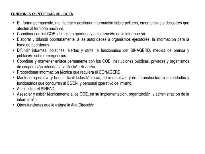 FUNCIONES ESPECÍFICAS DEL COEN