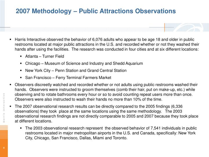 2007 Methodology – Public Attractions Observations