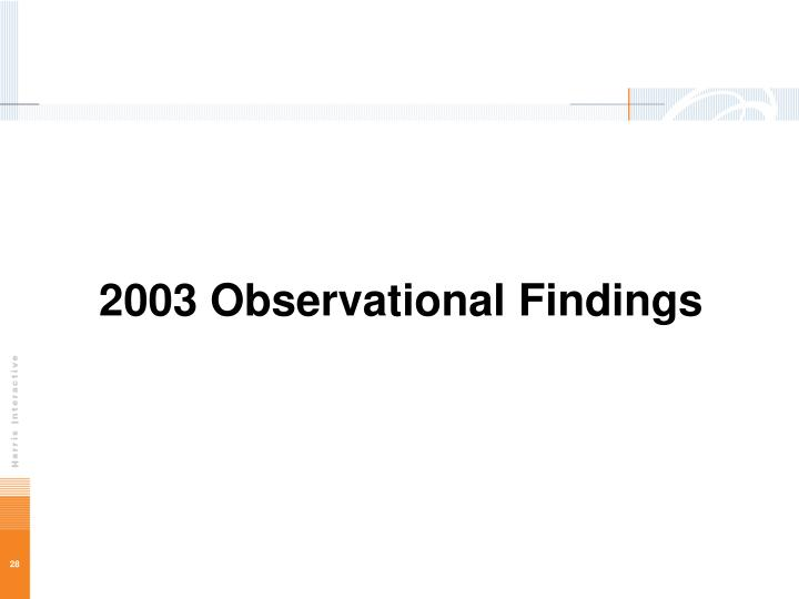 2003 Observational Findings