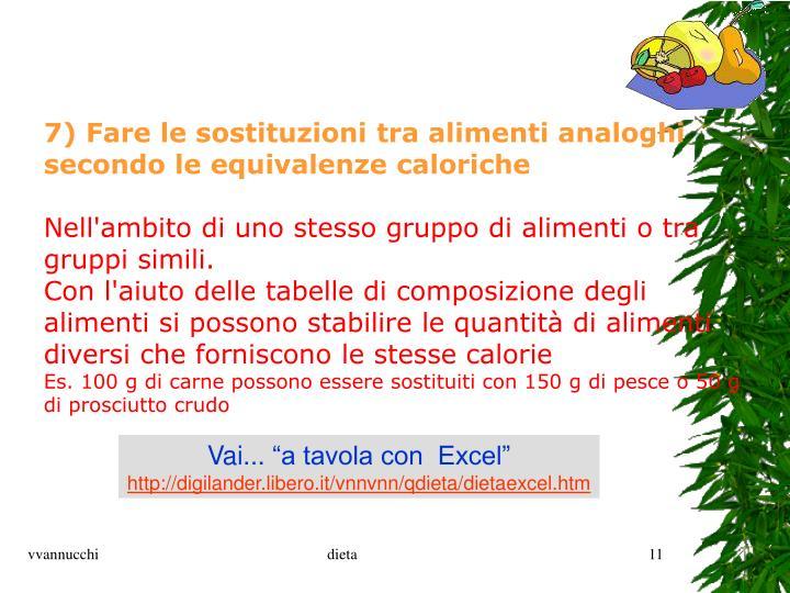 7) Fare le sostituzioni tra alimenti analoghi secondo le equivalenze caloriche