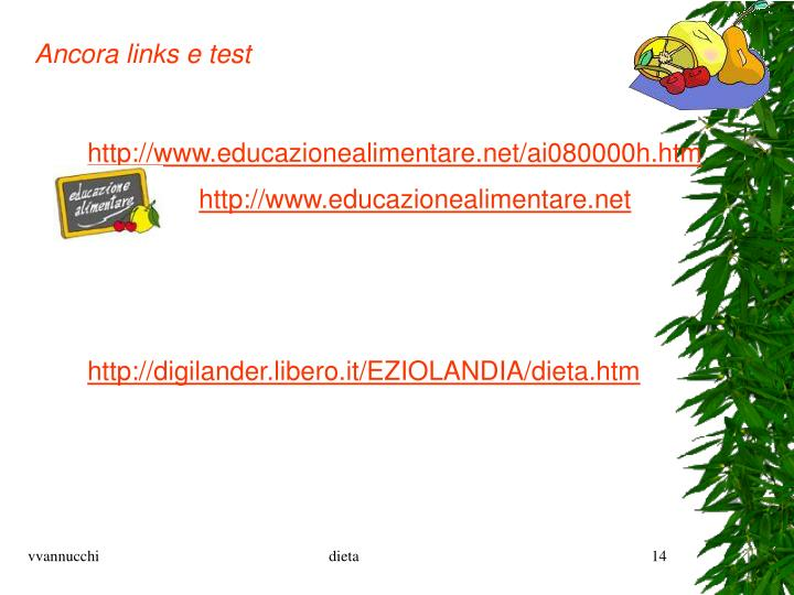 Ancora links e test